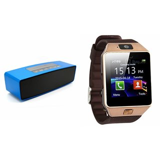 Mirza DZ09 Smartwatch and Box-2 Bluetooth Speaker  for HTC DESIRE P(DZ09 Smart Watch With 4G Sim Card, Memory Card| Box-2  Bluetooth Speaker, Mini Sound Link Speaker)