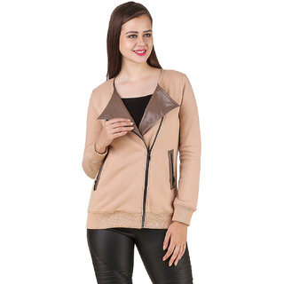 Texco Womens Beige Poly Cotton Full Sleeves Casual Jackets