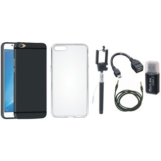 Oppo F5 Stylish Back Cover with Memory Card Reader, Silicon Back Cover, Selfie Stick, OTG Cable and AUX Cable