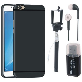 Oppo F5 Silicon Anti Slip Back Cover with Memory Card Reader, Selfie Stick and Earphones