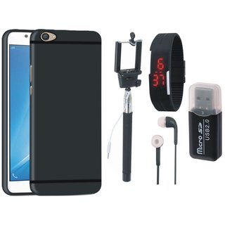 Oppo F5 Silicon Anti Slip Back Cover with Memory Card Reader, Selfie Stick, Digtal Watch and Earphones