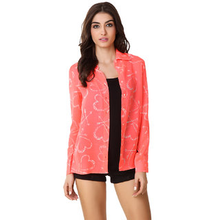 Texco Pink Printed Polyester Shrug for Women
