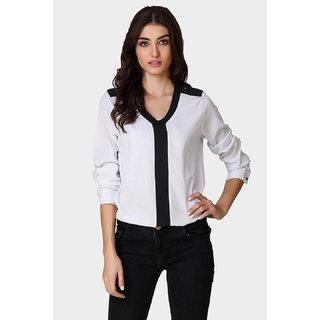 Texco Black,White Self design Polyester Shrug for Women