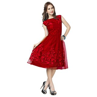 Dresses (Party Wear Red Soft Net Fit  Flared Westurn Dresses)