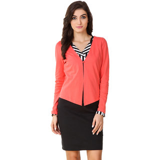 Texco Pink Solid Cotton Shrug for Women Shrugs and Summer jackets