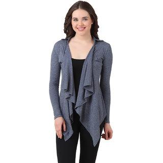 Texco Blue Self Design Cotton Shrug for Women