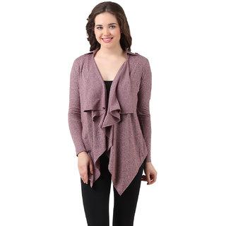 Texco Brown   Grey Self Design Cotton Shrug for Women