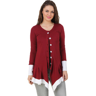 Texco Maroon Solid Cotton Shrug for Women
