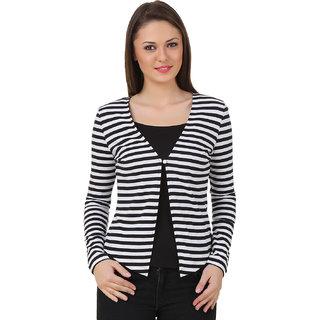 Texco Black,White Striped Cotton Shrug for Women
