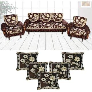 Choco Creations Elegant  Classic Premium Quality 5 Seater Sofa Cover Set +5 Pcs Cousion CoversCCSOFACOMCOU004R