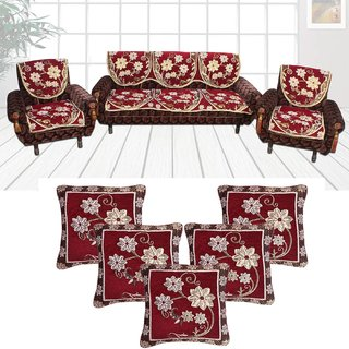 Choco Creations Elegant  Classic Premium Quality 5 Seater Sofa Cover Set +5 Pcs Cousion CoversCCSOFACOMCOU002