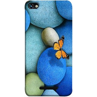 FUSON Designer Back Case Cover for Micromax CanvasHue2A316 (Butterfly Rocks Beautiful Colorful Blue Splendo Butterfly)