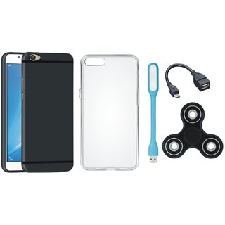 Oppo F5 Stylish Back Cover with Spinner, Silicon Back Cover, USB LED Light and OTG Cable