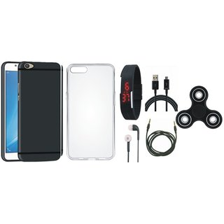Oppo F5 Premium Back Cover with Spinner, Silicon Back Cover, Digital Watch, Earphones, USB Cable and AUX Cable
