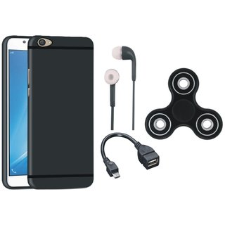 Oppo F5 Silicon Anti Slip Back Cover with Spinner, Earphones and OTG Cable