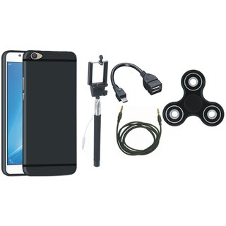 Oppo F5 Silicon Anti Slip Back Cover with Spinner, Selfie Stick, OTG Cable and AUX Cable