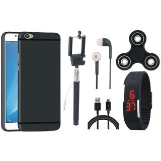 Oppo F5 Silicon Anti Slip Back Cover with Spinner, Selfie Stick, Digtal Watch, Earphones and USB Cable