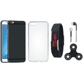 Oppo F5 Silicon Anti Slip Back Cover with Spinner, Silicon Back Cover, Digital Watch and Earphones