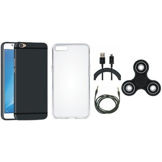 Oppo F5 Back Cover with Spinner, Silicon Back Cover, USB Cable and AUX Cable