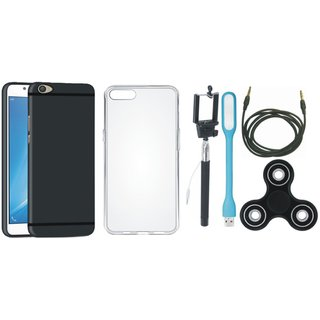 Oppo F5 Back Cover with Spinner, Silicon Back Cover, Selfie Stick, USB LED Light and AUX Cable