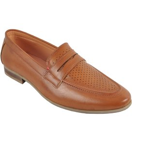 San Franco Beige Synthetic Leather Slip-on Formal Shoes