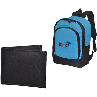 Stylox Blue Plain Bag With Black Leather Purse