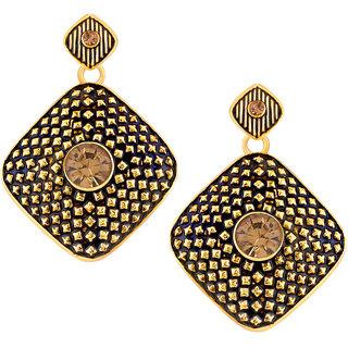 Shostopper Black/Golden Alloy Danglers  Drop Earring for Women SJ6086EN
