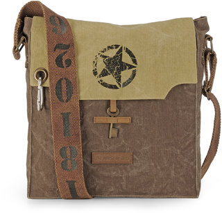 The House Of Tara 100 Cotton Canvas Messenger Bag in distress Finish (Desert Strom and Acorn Brown)