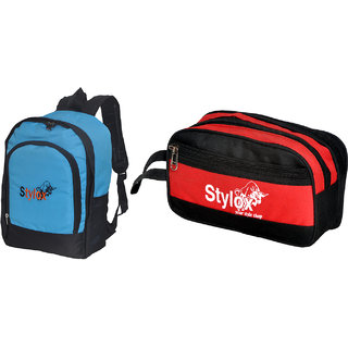 Stylox Blue Plain Bag With Red Travel Pouch