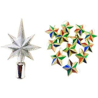 Priyankish Plastic Multicolour Christmas Tree Decoration-(Pack of 13)