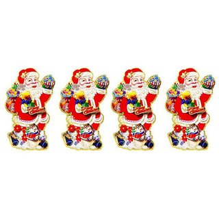 Priyankish Paper Christmas Multicolour Decoration-(Pack of 4)