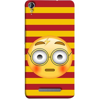 FUSON Designer Back Case Cover for Micromax Canvas Juice 3+ Q394 :: Micromax Canvas Juice 3 Plus Q394 (Sad Moon Power Icons Red And Yellow Strips )