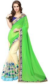 Meia Green Georgette Embroidered Saree With Blouse
