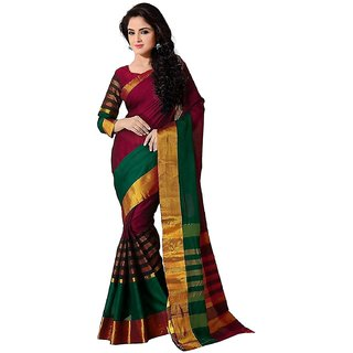Indian Beauty Maroon  Green Poly Cotton Self Design Saree With Blouse