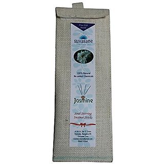 Suvasane Jasmine Fragrance Pure Natural Agarbatti (No added Chemicals) 4 packs of 6 sticks each Brown 9quot sticks in Jute bag
