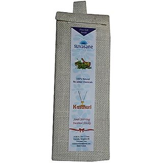 Suvasane Kasturi Fragrance Pure Natural Agarbatti (No added Chemicals) 6 packs of 6 sticks each Brown 9quot sticks in Jute bag