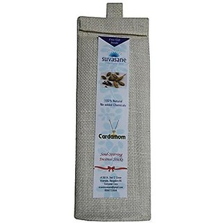 Suvasane Cordamom Fragrance Pure Natural Agarbatti (No added Chemicals) 12 packs of 6 sticks each Brown 9quot sticks in Jute bag