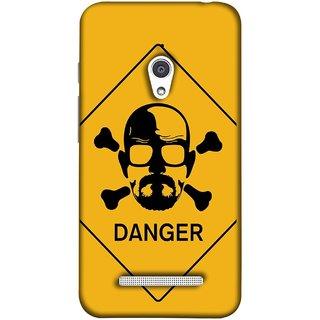 FUSON Designer Back Case Cover For Asus Zenfone Go ZC500TG (5 Inches) (Yellow Background  Bones Danger Triangular Sign )