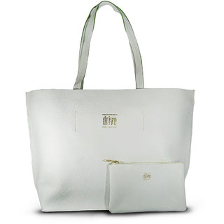 WomenS Rectangular Tote Bag In Bag White With Pouch (Normandie Blanc)