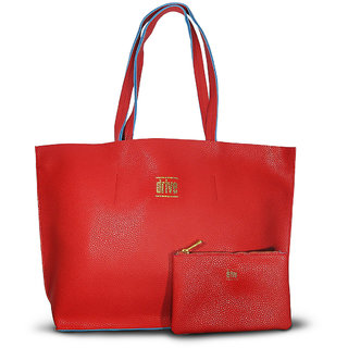 WomenS Rectangular Tote Bag In Bag Red With Pouch (Normandie Rouge)