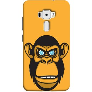 FUSON Designer Back Case Cover For Asus Zenfone 3 ZE520KL (5.2 Inches) (Orange Background Open Ears Black Hairs Jungle Nose)