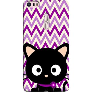 FUSON Designer Back Case Cover For Asus Zenfone 3 Ultra ZU680KL (6.8 Inch Phablet) (Cat Mau Pillu Blackcat Purple Waves Triangle )