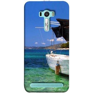 FUSON Designer Back Case Cover For Asus Zenfone Selfie ZD551KL (Boat Floating In The Clear Water Island Enjoy Holidays)