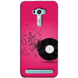 FUSON Designer Back Case Cover For Asus Zenfone Selfie ZD551KL (Vinyl Disc With Music Notes Music Lover And Collector )