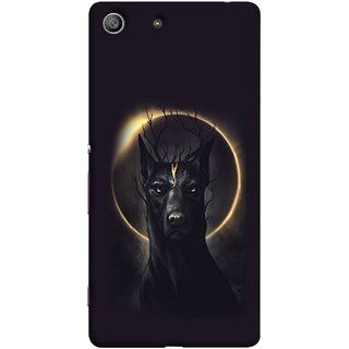 FUSON Designer Back Case Cover For Sony Xperia Z3 :: Sony Xperia Z3 Dual D6603 :: Sony Xperia Z3 D6633 (Doubles As An Aureola Suggesting The God Black Dog)