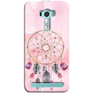 FUSON Designer Back Case Cover For Asus Zenfone Selfie ZD551KL (Pink Circle Design Birds Feathers Diamonds Ruby )