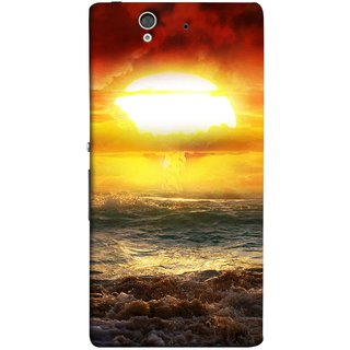 FUSON Designer Back Case Cover For Sony Xperia Z :: Sony Xperia ZC6603 :: Sony Xperia Z L36h C6602 :: Sony Xperia Z LTE, Sony Xperia Z HSPA+ (Sunshine Bright Day Sunny Clouds Fuzzy Waves Long )