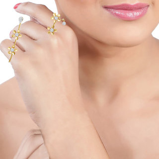 Spargz Flower Party Wear AD Stone with Pearl Hand Palm Cuff Bracelet For Women AIHPR 013