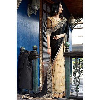 Priyanka Trends Saree Black Cream Colour Net Georgette Silk Fabric Multiwork Sarees