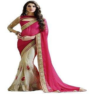 Priyanka Trends Saree Pink Colour Satin Net Silk Fabric Multiwork Sarees